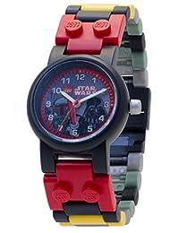 LEGO 乐高 星球大战 8020813 Boba Fett和达斯维达儿童可搭配手表,带表带和人仔配件| 黑/红| 塑料| 28mm表壳直径| 模拟石英| 男孩女孩| 官方