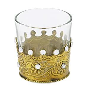 Lisbeth Dahl 玻璃茶蜡支架,黄铜装饰