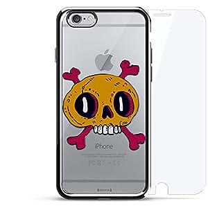 镀铬系列 360 套装:设计师手机壳 + 钢化玻璃 适用于 iPhone 6/6s PlusLUX-I6PLCRM360-SKULL15 Colorful Skull & Teeth 银色