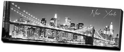 """黑白全景城市 35.56cm x 121.92cm 帆布墙饰 可悬挂 New York - 2 8""""x24"""" Stretched Canvas WBGW0824NewYork2"""