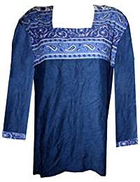 Lakkar Haveli 印*安 * 纯棉女式佩斯利印花蓝色上衣束腰上衣 加大码库蒂斯