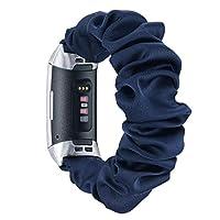 Fastgo 兼容 Fitbit Charge 3/Charge 3 SE 指环,女士女孩缩水更换透气弹性弹性腕带运动表带手链袖口兼容Fitbit HR 大号/小号