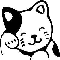 Kitty 猫形编织乙烯基贴纸—汽车卡车 Vans 墙壁 笔记本电脑杯 — 黑色— 5.5 英寸—KCD852