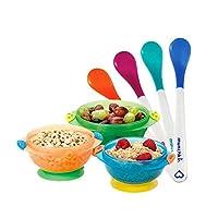 Munchkin 满趣健 儿童餐具婴儿宝宝辅食工具吸盘碗+感温勺7件套【跨境自营】