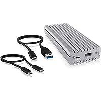 Icy Box SSD 带 2 个 NVMe 外壳 USB 3.1(*二代,10 Gbit/S),冷却系统,USB-C,USB-A,PCIe m-Key,铝,银色