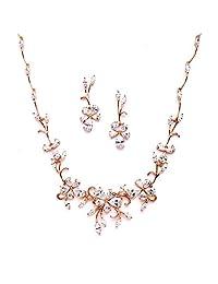 Mariell 优雅葡萄*玫瑰金色项链耳环套装 婚礼、新娘和正装