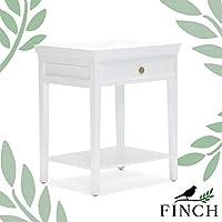 Finch Hampton 2 层床头柜带抽屉实木侧端装饰床头柜适用于小型卧室,完全组装,白色