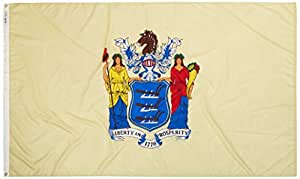 Annin Flagmakers Model 143680 New Jersey State Flag 5x8 ft. Nylon SolarGuard Nyl-Glo 100% Made in USA to Official State Design Specifications.