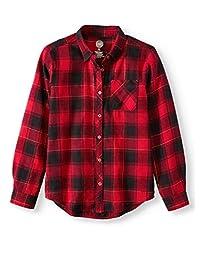 女童长袖系扣格子法兰绒衬衫