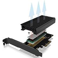Icy Box PCI Express 卡,M.2 NVMe SSD 可用于 PCIe 3.0 适配器,冷却器,LED 照明,M-Key,2230,2242,2260,2280,黑色
