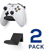 游戏控制器壁挂支架(2 件装)适用于 XBOX ONE SWITCH PS4 STEAM PC NINTENDO,通用游戏手柄配件 - 无螺丝,粘贴,黑色,Brainwavz 出品 (V2 - 提高粘附力) UGC1