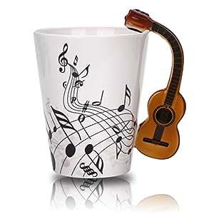 Novelty Handle Music 马克杯独特艺术音符可放茶咖啡牛奶陶瓷杯 340.20 毫升*佳礼物 吉他 12盎司 G123