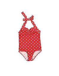 新生儿女婴连体泳装圆点印花露背比基尼泳装沙滩装