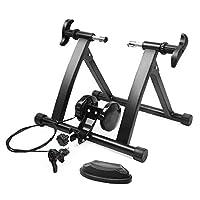 Flexzion 自行车训练器,室内固定运动涡轮训练骑行可调节磁阻支架,前轮支撑垫,适用于 26-28 英寸(约 66.0-71.1 厘米)车轮尺寸,自行车运动