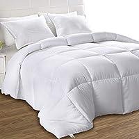 Utopia 床上用品轻质棉被,超软羽绒替代品 - 四季被子 - 长毛绒硅胶纤维填充羽绒被芯 - 盒式缝合 白色 King FBA_B01JPECPZE