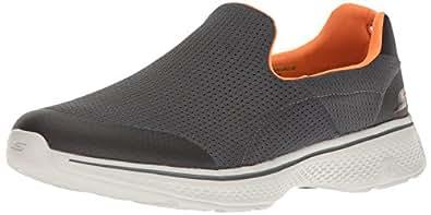 Skechers 斯凯奇 GO WALK 4系列 男 一脚套轻质透气健步休闲鞋 54152-CCOR 炭灰色/橘色 44 (US 10.5)