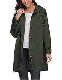 Kikibell 女士轻质雨衣连帽防水雨衣户外雨衣