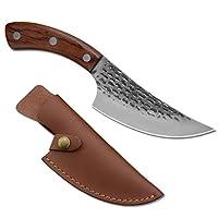 屠夫刀,廚房刀,手工固定刀片生存刀,多功能骨刀,燒烤肉刀,適用于露營、戰術、戶外