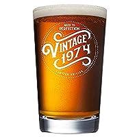 1974(2019 年 45 岁生日)男女礼品 啤*玻璃 - 453.59 克趣味复古品脱玻璃杯,用于装饰和派对用品 - 送给爸爸、妈、丈夫、妻子的礼物创意 - *佳*师工艺啤* Mu