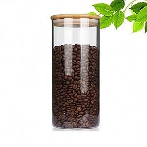 吉泰儿 啡忆 咖啡豆密封罐 家用无铅玻璃瓶 厨房咖啡粉保鲜瓶茶叶储物罐 1600cc