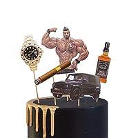 PureArte DIY 生日快乐男士父亲威士忌饮料手表雪茄生日蛋糕装饰套装儿童派对装饰道具