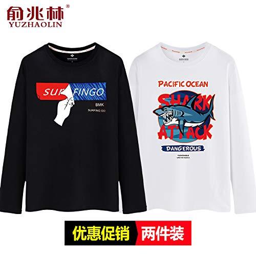 男性のTシャツ長袖の秋のメンズシャツ大きいサイズの秋のシャツ綿ラウンドネックトレンド学生緩い秋服黒(大きな猫)+黒(ボクシング猫)165 / S