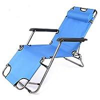 【京好】躺椅折叠两用单人床A66 办公室休闲午休睡床 户外沙滩折叠椅子行军床 (宝蓝色无棉垫)