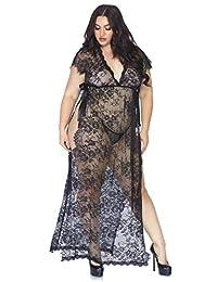 Leg Avenue 蕾丝长袍和丁字裤 +,黑色,1X-2X