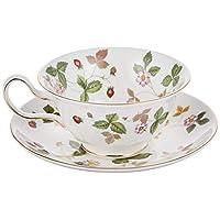 Wedgwood 野草莓茶杯和茶碟 牡丹圖案 【平行進口商品】