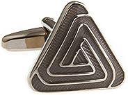 MRCUFF 金字塔灰色三角形双袖扣,礼盒和抛光布