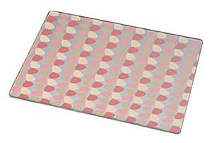 Rikki Knight Petals Leaves Floral Design - Cayenne - Sand - Light Beige Large Glass Cutting Board