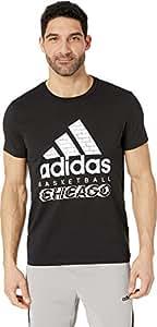 adidas 男式 58262 运动城市徽章图案 T 恤,黑色/艺术,XL 码