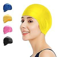 SUPOW 男式女式泳帽,硅胶泳帽覆盖耳朵,泳池水帽适用于长短发 – 适合成人,大龄儿童