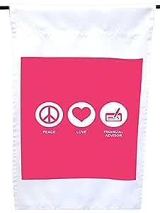 Rikki Knight Peace Love Financial Advisor 热带粉色房子或花园旗,30.48 x 45.72 cm 旗帜尺寸带 27.94 x 27.94 cm 图像