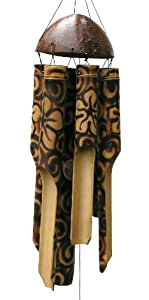 Cohasset Gifts 竹风铃声 自然美丽声音 木质户外家居装饰 - 烧花 小号 166