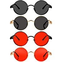 4 對蒸汽朋克太陽鏡,圓形復古太陽鏡,復古哥特式太陽鏡,帶金屬框架,男女適用