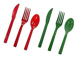 Party Essentials 68 放置设置硬塑料餐具组合套装 红色/绿色 N926528