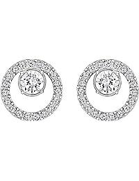 施华洛世奇创造性圆形穿孔耳环,小号,白色,镀铑