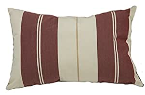 Mansion Multi-Striped Outdoor Pillow Burgundy and White Multi 20 英寸