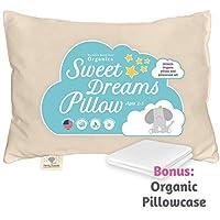 幼儿枕头 - 有机棉美国制造 - 可水洗中性儿童枕头 - 13X18