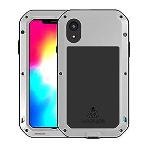 Simicoo iPhone Xs *大铝合金金属缓冲硅胶内置大猩猩玻璃混合*防震重型盔甲防摔坚韧后盖 iPhone Xs Max iPhone XR Sliver