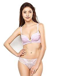 ELLE 内衣舒适性感时尚蕾丝碎花女士内衣内裤文胸套装 1SF024+1BL302(亚马逊自营商品,由供应商配送)