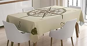 西部装饰桌布带 ambesonne ,美国 RODEO 设备与牛仔毛毡帽子 ranching 工具灯笼,餐厅厨房矩形桌布,黑色和棕色