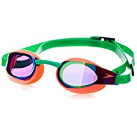 Speedo速比涛中性鲨鱼皮镀膜泳镜(亚洲版)8-08214B984荧光橘/草绿色均码
