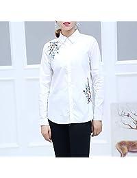 LX 2018秋季新款韩版时尚花卉刺绣方领长袖衬衫女