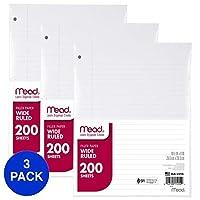 """Mead Loose 叶纸,填充纸,宽横条线,200 张,10-1/2"""" x 8"""", 3 孔穿孔,1 包 (15200) 宽横条 3片装"""