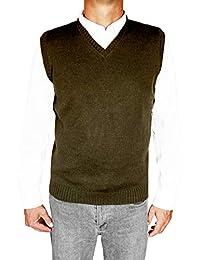 TINKUY PERU - 秘鲁羊驼毛 - 男式针织 V 领套头毛衣经典背心 - 黑色