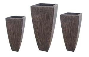 Screen Gems 砂岩罗纹长方形花盆 - 3 件套 棕色 SGS3105-82