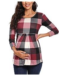 BBHoping 孕妇上衣正面褶皱荷叶边孕妇束腰圆领七分袖经典衬衫 A-floral88 X-Large