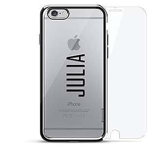 奢华镀铬系列 360 套装:设计师手机壳 + 钢化玻璃 适用于 iPhone 6/6s 银色LUX-I6CRM360-NMJULIA2 NAME: JULIA, MODERN FONT STYLE 银色